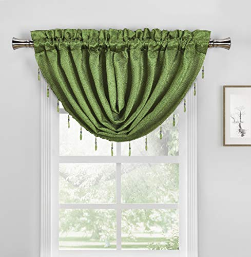 Duck River Textile Roma Faux Silk Textured W/Beaded Trim Curtain Valance Set for Small Kitchen Window, Cafe, Bath, Laundry or Bedroom, 50 X 37 Inch, Green