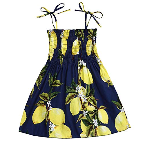 Kids Toddler Baby Girls Summer Dress Outfits Ruffle Strap Sunflower Print Tutu Skirt Sunsuit Beachwear Clothes Set (Lemon, 3-4 Years)