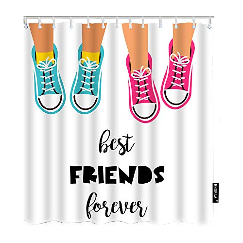 EKOBLA Shoes Shower Curtain Pink and Blue Quotes Best Friend Forever Happiness Young Partnership Decorative Waterproof Shower Curtain for Friends Family Polyester Fibre 60x72 Inch (150x180cm)