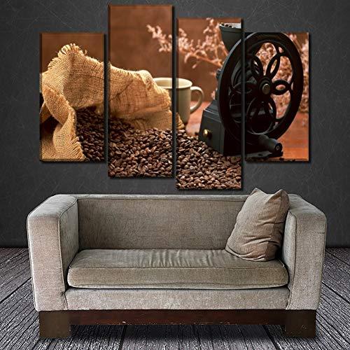 UDPBH 4 Panelen Koffiebonen En Koffiemachine Poster Canvas Print Schilderen Voor Moderne Home Wall Art Decoratieve Beeld