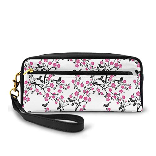 Pencil Case Pen Bag Pouch Stationary,Sakura Tree with Flourishing Flowers and Birds Black Silhouettes,Small Makeup Bag Coin Purse
