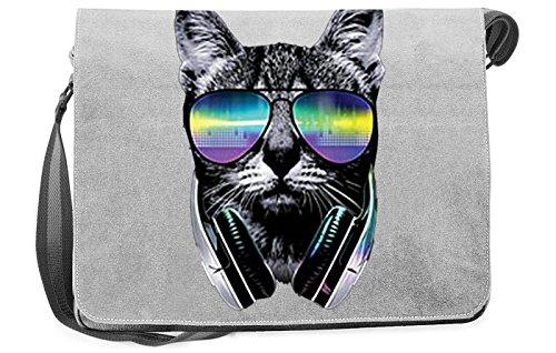 Lässige Umhängetasche mit cooler Katze - DJ Cat mit Kopfhörer - Schultertasche, Tasche für Schule, Beruf, Urlaub, Freizeit