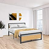 Idealhouse Metal and Wood Bed Frame with Headboard and Footboard Full Size Platform Bed Strong Metal Slat Support No Box Spring Needed Easy to Assemble