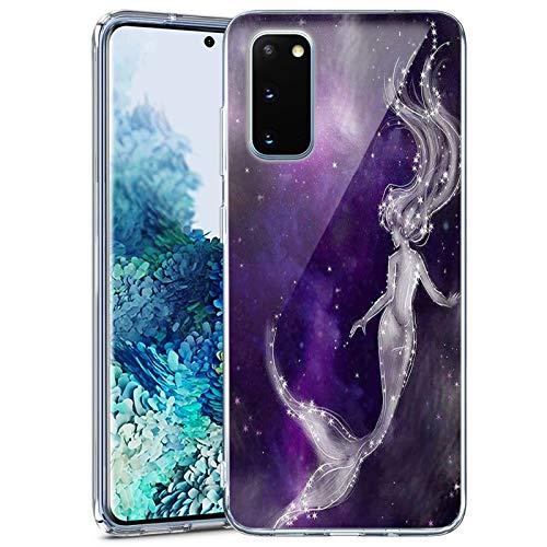 Samsung Galaxy S20 FE 5G Case Clear Space Galaxy Mermaid Samsung Galaxy S20 FE 5G Phone case Customized Design Pattern Soft Slim Samsung Galaxy S20 FE 5G Space Galaxy Mermaid case Ultra-Thin Flexible