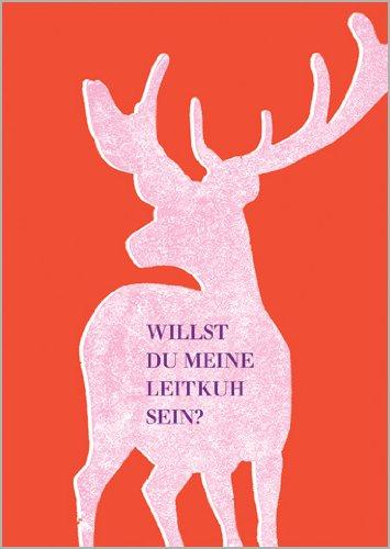 Onbekend in 5-delige set: Valentijnskaart met roze hert: wil je mijn Leikuh Sein?