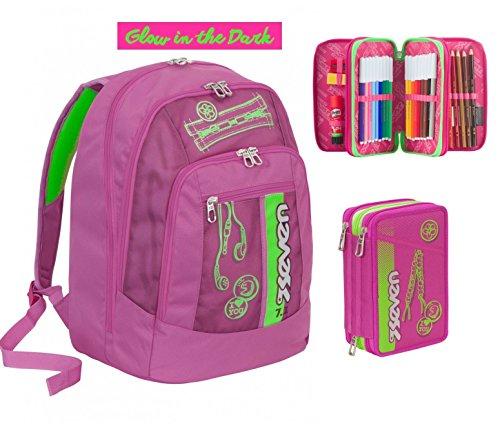 Zaino scuola new advanced SEVEN - COLORFUL GIRL - Rosa Verde + Astuccio 3 zip SERIGRAFIA FOTOLUMINESCENTE - 30 LT - inserti rifrangenti