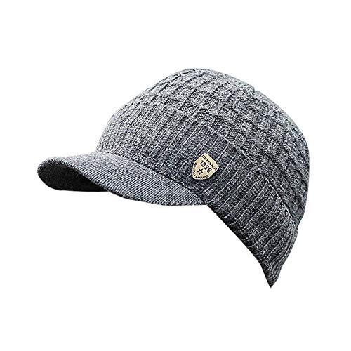 HGWXX7 Men Winter Warm Baggy Weave Crochet Wool Knit Ski Hat Beanie Visors Caps(One Size, Dark Gray)
