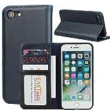 Zouzt Folio Flip Wallet Hülle aus echtem Leder Kompatibel mit iPhone se 2020/7 / iPhone 8, Business Cover Hülle mit Magnetverschluss/Ständerfunktion/Kartensteckplätzen (Blue)