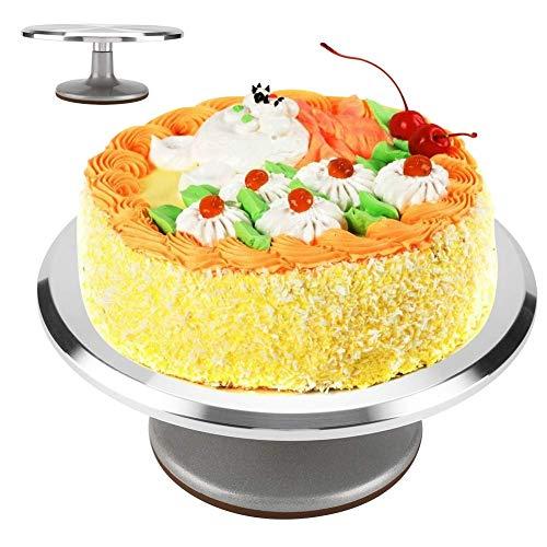 Ejoyous 12 Zoll Tortenplatte Drehbar Edelstahl, Doppelwellen Tortenständer Kuchen Drehteller Cake Turntable Decorating für Backen Gebäck Zuckerguss für Restaurant Dessertladen