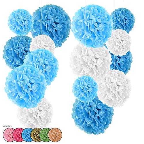 15er Set Seidenpapier Pompoms, inkl. Satinbänder (je 1.20m), inkl. Geschenkverpackung, mit deutscher Videobastelanleitung (weiß-hellblau-blau)