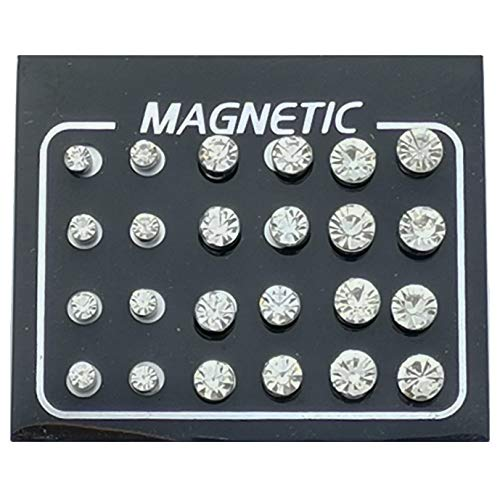 FHJEWE 24 Pieces Magnetic Fake Plug Lot Fake Gauges Ear Studs Round Rhinestone Stud Earring Mix Gauges Look(12 Pairs White)