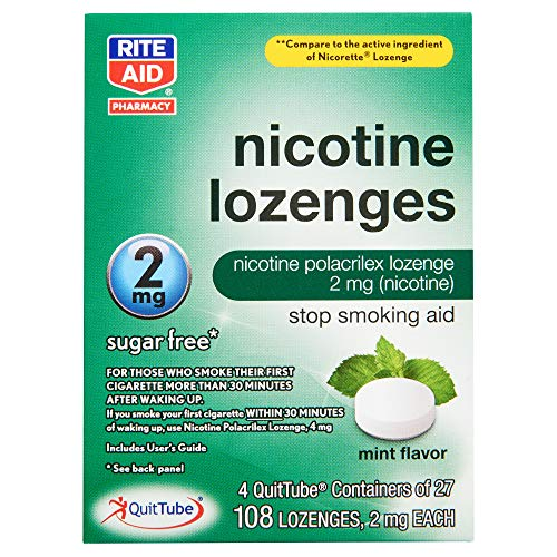 Rite Aid Mint Nicotine Lozenges, 2mg - 108 Lozenges   Mint Flavor   Sugar Free Quit Smoking Products   Stop Smoking Aids That Work   Quit Smoking Aid   Alternative to Nicotine Patches