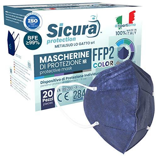 20x FFP2 Maske Farbe Dunkelblau CE Zertifiziert Filterklasse BFE ≥99% FFP2 Masken SANITIZIERTE und Einzeln versiegelte ISO 13485 Atemschutzmaske CE
