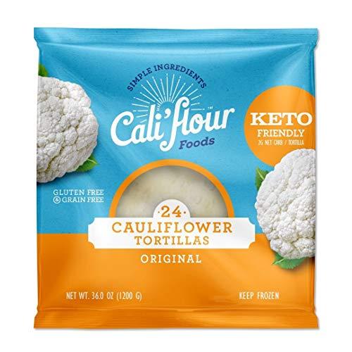 Product Image 1: Cali'flour Foods Tortillas (Original, 24 Count) – Keto Friendly, Low Carb, Gluten Free | Cauliflower Tortillas