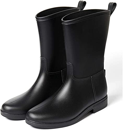 LJBOZ botas De Lluvia botas De Lluvia De Medio Tubo Hauszapatos De Agua para mujer Antideslizantes Resistentes Al Desgaste A Prueba De Agua - Color  negro botas de Lluvia (Talla   38)