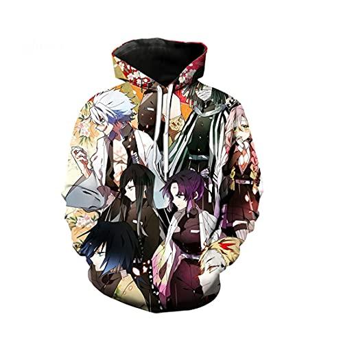 cshsb Demon Slayer Unisexo Sudaderas con Capucha 3D Impresa Patrón de Anime Manga Larga Colorida Novedad Hoodie Suéter Deporte Capucha,R,XXL-3XL