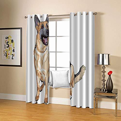 carmaxs cortina opaca térmica aislante blackout para salón, dormitorio y habitación, con ojales - Impresión digital 3D Poliéster - Dibujos animados lindo animal perro 234x230 cm