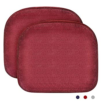 JUSLINK Chair Seat Cushion 2 Set Memory Foam Chair Pad with Non Slip Chair Pads,Comfort and Softness,Washable,15 x 17 inches - Red