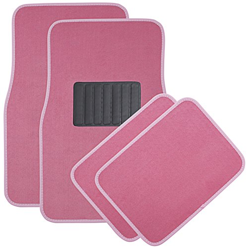 OxGord 4 Piece Luxe Carpet-Floor-Mats Set for Car - Rubber-Lined All-Weather Heavy-Duty Protection for All Vehicles, Pink