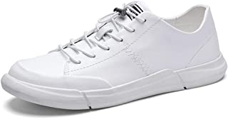 Ranipobo Sneaker for Men Sports Shoes Lace Up Style PU Leather Low Top Round Toe Lightweight for Men (Color : White, Size : 6 UK)