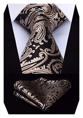 HISDERN Men's Paisley Wedding Party Tie Handkerchief Flower Necktie & Pocket Square Set Black/Brown