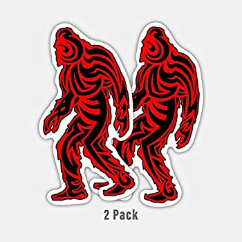MKS1289 Car Truck Van SUV Window Wall Cup Laptop Vinyl Decal Sticker Two 5.5 Inch Decals More Shiz Red Plaid Bigfoot Sasquatch 2 Pack