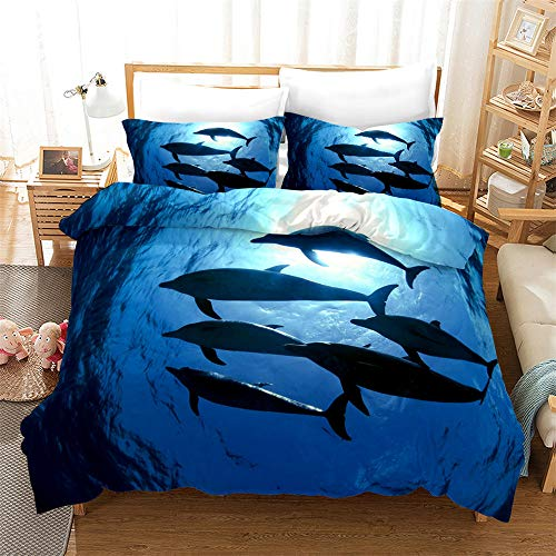 Bedding Set Duvet Cover Fashion 3D DolphinDuvet Cover 2/3 Pieces Lightweight with Zipper Closure Microfiber Duvet Cover Set for Kids Children (Dolphin 04, King)