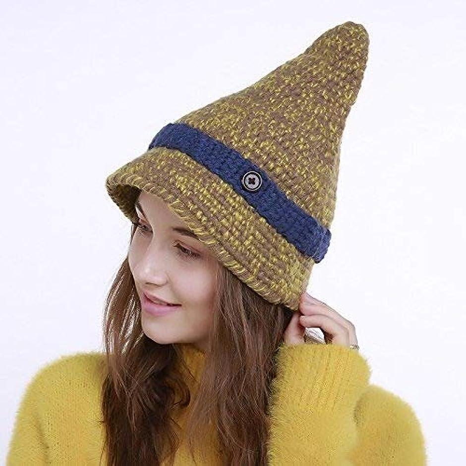 列挙する計器マイナスレディースニット帽子 帽子手編みスモールヘッドにボタンハットレディース冬のニット帽子尖った帽子を指摘しました フリーサイズ (Color : Cyan)