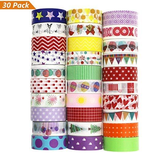Buluri 30 Rolls Washi Masking Tapes Sticker, Washi Tape Set Decorative Adhesive Tape for DIY, Christmas Decorative Craft, Gift Wrapping, Scrapbook (5m1.5cm)