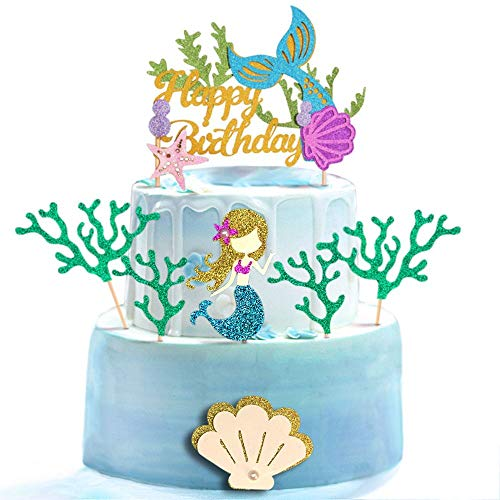 ALISSAR Glitter Mermaid Theme Birthday Cake Topper with Seaweed and Mermaid, Cake Cupcake Toppers for Girls Mermaid Themed Birthday Cake Party Decorations.