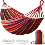 MOSFiATA Camping Hammock 550lb Upgraded Thickened 320G Durable Canvas Fabric Single Hammocks with Two Anti Roll Balance Beam and Sturdy Metal Knot Tree Straps for Camping, Patio, Backyard, Outdoor