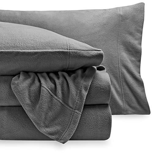 Bare Home Super Soft Fleece Sheet Set - Queen Size - Extra Plush Polar Fleece, Pill-Resistant Bed Sheets - All Season Cozy Warmth, Breathable & Hypoallergenic (Queen, Grey)