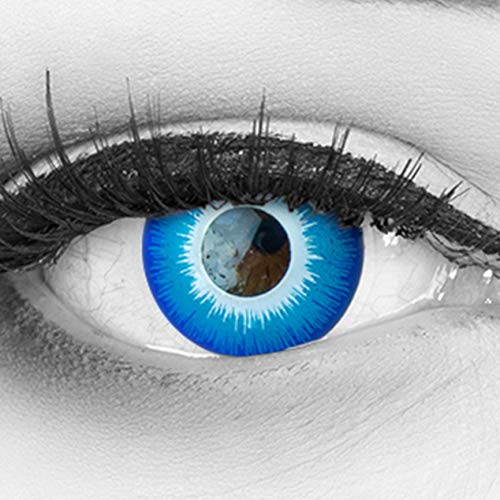 Farbige blaue Crazy Fun Kontaktlinsen 'Blue Elf' ohne Stärke mit gratis Linsenbehälter - Topqualität zu Karneval, Fasching und Halloween 2019