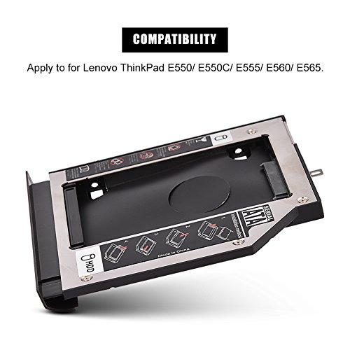 Richer-R Soporte de Disco Duro Caddy,Bahía de Disco Duro Universal para Laptops,SATA 3.0 HDD/SDD 7mm/9mm/9.5mm para Lenovo ThinkPad E550 / E550C / E555 / E560 / E565(Aleación de Aluminio)