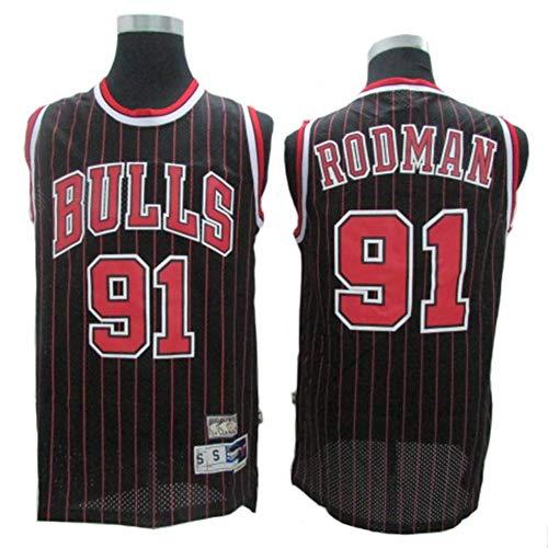 LLZYL Trikot - Chicago Bulls 91# Dennis Rodman Basketball Trikots Für Männer Und Frauen Retro Trikot Cool Atmungsaktivem Stoff,A,L:180cm/75~85kg