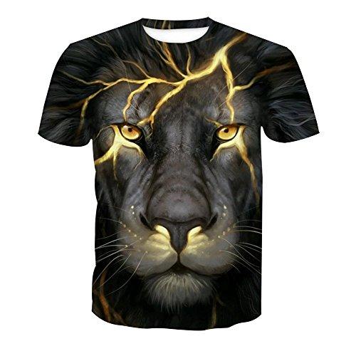 OLI Zomer Festival Leeuw Digitale Print T-shirt met korte mouwen Trui Coltrui Casual Shirt
