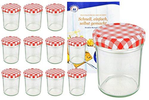 MamboCat Lot de 12 bocaux en verre, pots à confiture, avec couvercles à carreaux rouges et blancs TO 66, 230 ml, avec livret de recettes « Gelierzauber » de la marque Diamant (français non garanti)