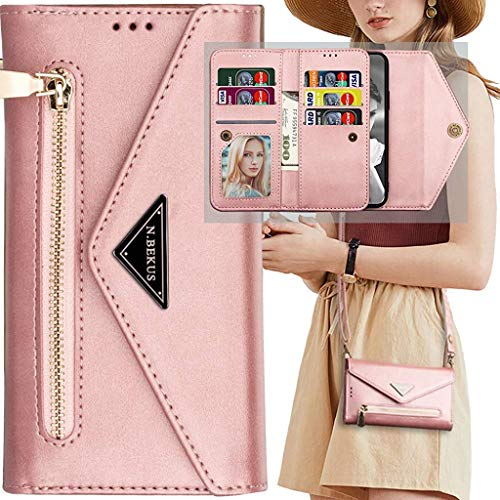 Auker Samsung Galaxy Note 10 Plus Crossbody Wallet Case with Strap for Women,9 Card Holder Magnetic Zipper Purse Clutch with Kickstand Folio Flip Leather Hidden Pocket Card Organizer Wallet Case