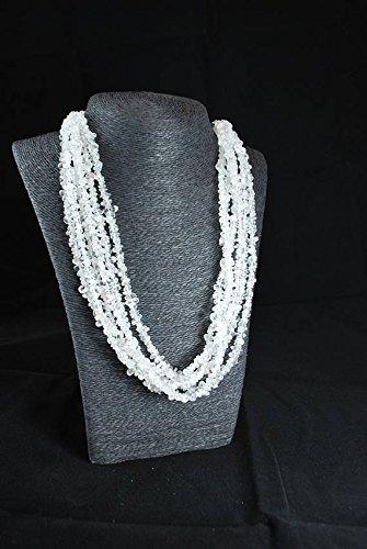 LOVEKUSH Collar de plata de ley 925 al por mayor de tamaño mezclado Stracking blanco ocho hebras de cristal de cuarzo fichas, facetado de 43 cm para hombres, mujeres, gf, bf y adultos.