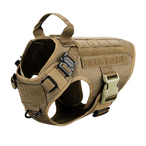 "ICEFANG Dog Harness Medium Breed,Tactical Molle Dog Vest,No Pulling Front Clip, Hook and Loop Panel for Dog Patch,Metal Buckle (M 25""-30"