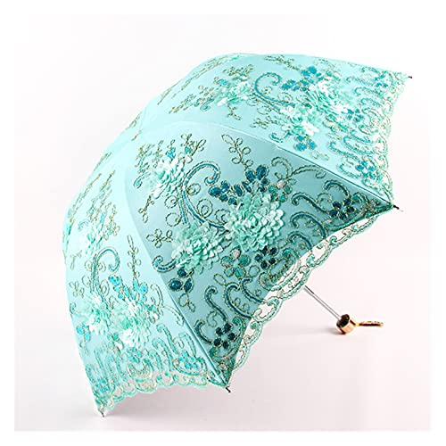Flores Bordado Encaje Lluvia Sol Paraguas para Mujer Portátil 3-Plegable Doble Capa Paraguas Exquisito Parasol Regalo para Mujer (Color : Green)