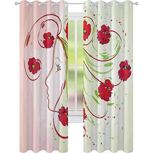raamgordijnen, meisjesprofiel klaprozen bloemen haar in aquarel effect artistieke ontwerp print, 2 panelen W52 x L63 venster behandelingen gordijnen voor slaapkamer, groen rood