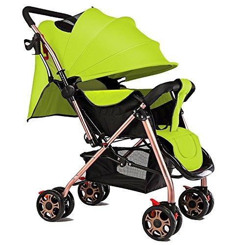 Les bébés enfants peuvent s'asseoir peuvent monter des voitures pour bébés, un parapluie portable ultra-léger à double voie, des chariots à bébé, un chariot pour enfants ( Couleur : Vert )