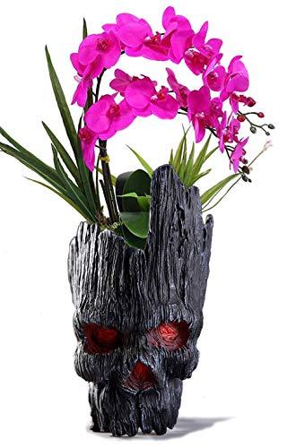 Doodshoofd-bloempot, pennenhouder, Treeman pennenhouder, groene plantenkop, creatieve doodskop-bloempot, schedel-make-up kwasthouder Zwart zwart