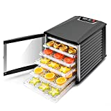 JAYETEC Professional Food Dehydrator, 6-Trays with Digital Thermostat and Timer, fruit, vegetables, meat, flowers, herbs, beef dryer,transparent front door & black,including 2 pcs non-stick sheets (Renewed)