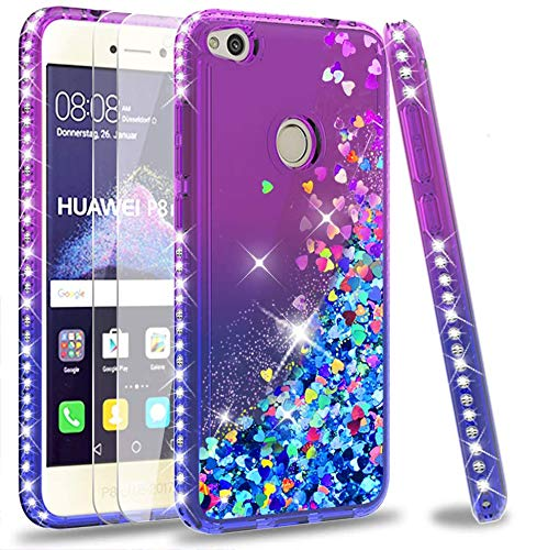 LeYi Custodia Huawei P8 Lite 2017 Glitter Cover con Vetro Temperato [2 Pack],Brillantini Diamond Sabbie Mobili Bumper Case per Custodie Huawei P8 Lite 2017 ZX Purple Blue Gradient