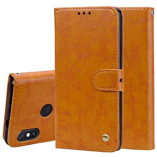 Liju nguo Funda de Cuero de Flip Horizontalde Textura de Cera de Aceite de Estilo de Comerciopara Xiaomi Redmi Note 5 Pro,con Soporte y Ranura de Tarjetas y Billetera (Color : Brown)