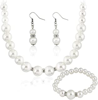 Danbihuabi Silver Plated Faux Pearl Necklace Earring Bracelet Jewelry Set