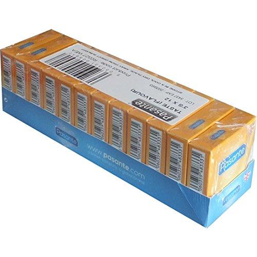 Pasante Taste, bunte Kondome mit Geschmack - Kondome für Oralverkehr (Blaubeere, Erdbeere, Minze), 12 x 3 Stück