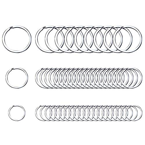 Small Key Chain Ring 50 PCS Metal Split Rings 10/20 / 30mm Stainless Steel Flat Rings with Excellent Spring Retention 3 Sizes for Keys Organization/Jewlery Making Findings